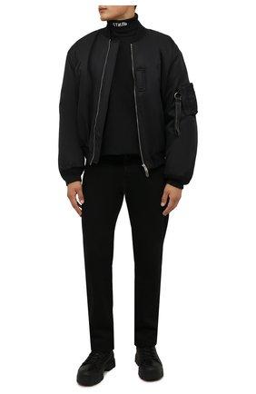 Мужской хлопковая водолазка HERON PRESTON черного цвета, арт. HMAB020F21JER0011001 | Фото 2 (Длина (для топов): Стандартные; Рукава: Длинные; Материал внешний: Хлопок; Мужское Кросс-КТ: Водолазка-одежда; Принт: С принтом; Стили: Гранж)