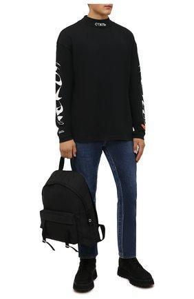 Мужской хлопковая водолазка HERON PRESTON черного цвета, арт. HMAB017F21JER0021001 | Фото 2 (Длина (для топов): Стандартные; Материал внешний: Хлопок; Рукава: Длинные; Мужское Кросс-КТ: Водолазка-одежда; Принт: С принтом; Стили: Гранж)