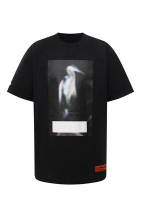 Мужская хлопковая футболка HERON PRESTON черного цвета, арт. HMAA026F21JER0011005 | Фото 1 (Длина (для топов): Удлиненные; Рукава: Короткие; Материал внешний: Хлопок; Принт: С принтом; Стили: Гранж)