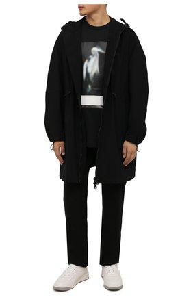 Мужская хлопковая футболка HERON PRESTON черного цвета, арт. HMAA026F21JER0011005 | Фото 2 (Длина (для топов): Удлиненные; Рукава: Короткие; Материал внешний: Хлопок; Принт: С принтом; Стили: Гранж)