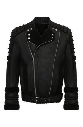 Мужская дубленка BALMAIN черного цвета, арт. WH1TH125/L119   Фото 1 (Рукава: Длинные; Длина (верхняя одежда): Короткие; Материал внешний: Натуральный мех)