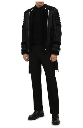 Мужская дубленка BALMAIN черного цвета, арт. WH1TH125/L119   Фото 2 (Рукава: Длинные; Длина (верхняя одежда): Короткие; Материал внешний: Натуральный мех)