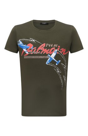 Мужская хлопковая футболка BALMAIN хаки цвета, арт. WH0EF000/G123   Фото 1 (Рукава: Короткие; Материал внешний: Хлопок; Длина (для топов): Стандартные; Принт: С принтом)
