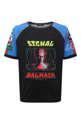 Мужская хлопковая футболка BALMAIN разноцветного цвета, арт. WH0EH006/G119 | Фото 1 (Материал внешний: Хлопок; Рукава: Короткие; Принт: С принтом; Длина (для топов): Стандартные)