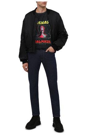 Мужская хлопковая футболка BALMAIN разноцветного цвета, арт. WH0EH006/G119 | Фото 2 (Материал внешний: Хлопок; Рукава: Короткие; Принт: С принтом; Длина (для топов): Стандартные)