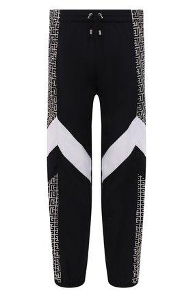 Мужские джоггеры BALMAIN черного цвета, арт. WH10B061/687I   Фото 1 (Материал внешний: Синтетический материал; Силуэт М (брюки): Джоггеры; Стили: Спорт-шик; Длина (брюки, джинсы): Стандартные)
