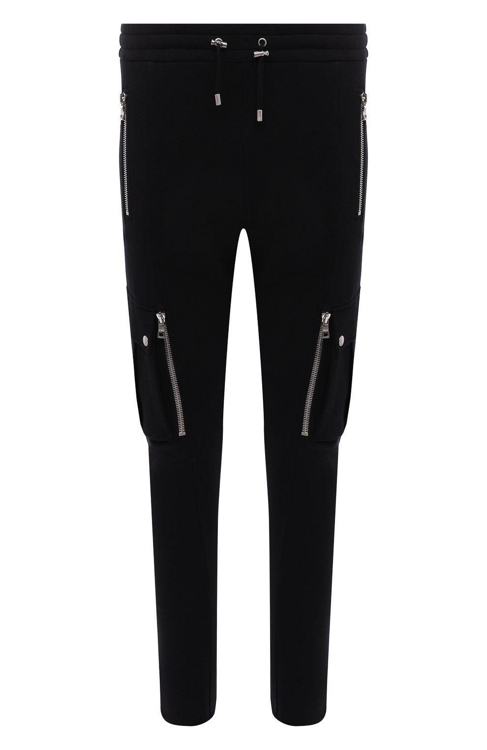 Мужские хлопковые джоггеры BALMAIN черного цвета, арт. WH10B080/B137 | Фото 1 (Силуэт М (брюки): Карго, Джоггеры; Мужское Кросс-КТ: Брюки-трикотаж; Длина (брюки, джинсы): Стандартные; Материал внешний: Хлопок; Стили: Кэжуэл)