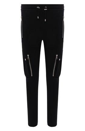 Мужские хлопковые джоггеры BALMAIN черного цвета, арт. WH10B080/B137 | Фото 1 (Длина (брюки, джинсы): Стандартные; Материал внешний: Хлопок; Силуэт М (брюки): Джоггеры, Карго; Мужское Кросс-КТ: Брюки-трикотаж; Стили: Кэжуэл)