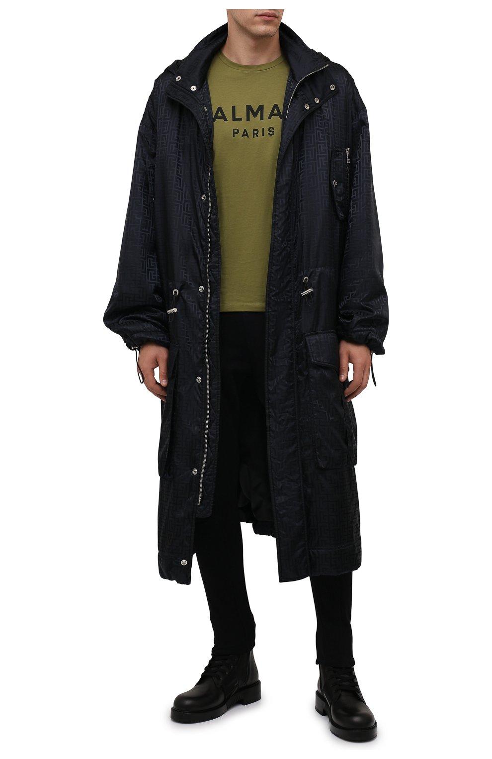 Мужские хлопковые джоггеры BALMAIN черного цвета, арт. WH10B080/B137 | Фото 2 (Силуэт М (брюки): Карго, Джоггеры; Мужское Кросс-КТ: Брюки-трикотаж; Длина (брюки, джинсы): Стандартные; Материал внешний: Хлопок; Стили: Кэжуэл)