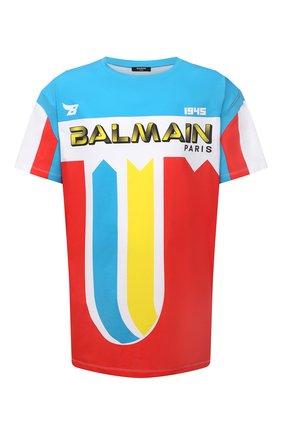 Мужская хлопковая футболка BALMAIN разноцветного цвета, арт. WH1EH000/G083 | Фото 1 (Длина (для топов): Удлиненные; Рукава: Короткие; Материал внешний: Хлопок; Принт: С принтом)