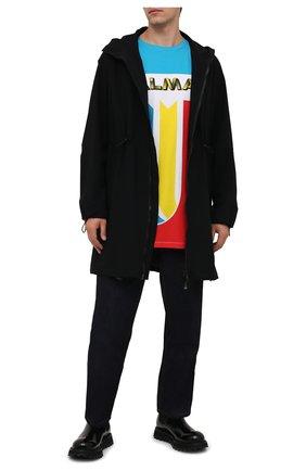 Мужская хлопковая футболка BALMAIN разноцветного цвета, арт. WH1EH000/G083 | Фото 2 (Длина (для топов): Удлиненные; Рукава: Короткие; Материал внешний: Хлопок; Принт: С принтом)
