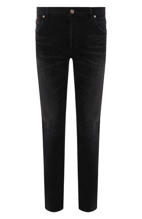 Мужские джинсы BALMAIN черного цвета, арт. WH1MH000/146D   Фото 1 (Материал внешний: Хлопок; Длина (брюки, джинсы): Стандартные; Кросс-КТ: Деним; Силуэт М (брюки): Узкие; Детали: Потертости; Стили: Гранж)