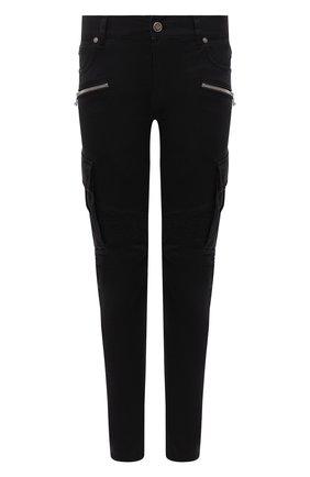 Мужские джинсы BALMAIN черного цвета, арт. WH1MH015/146D   Фото 1 (Материал внешний: Хлопок; Длина (брюки, джинсы): Стандартные; Кросс-КТ: Деним; Силуэт М (брюки): Узкие; Стили: Гранж)
