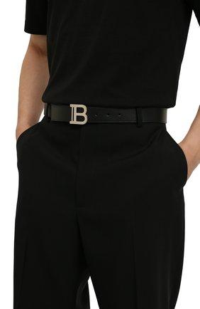 Мужской кожаный ремень BALMAIN черного цвета, арт. WM0WJ000/LVTL | Фото 2 (Стили: Кэжуэл)
