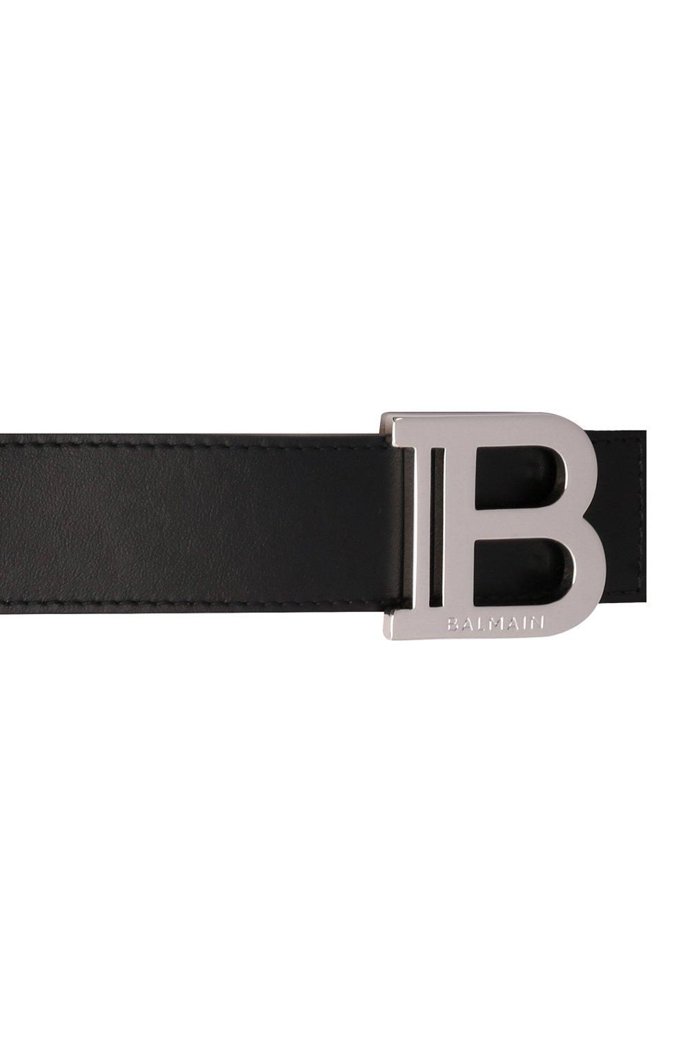 Мужской кожаный ремень BALMAIN черного цвета, арт. WM0WJ000/LVTL | Фото 4 (Стили: Кэжуэл)