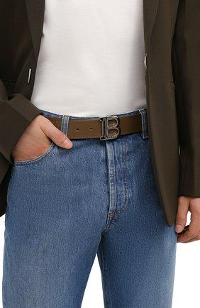 Мужской кожаный ремень BALMAIN хаки цвета, арт. WM0WJ000/LVTL | Фото 2 (Стили: Кэжуэл)