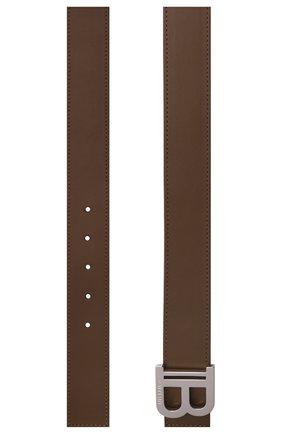 Мужской кожаный ремень BALMAIN хаки цвета, арт. WM0WJ000/LVTL | Фото 3 (Стили: Кэжуэл)