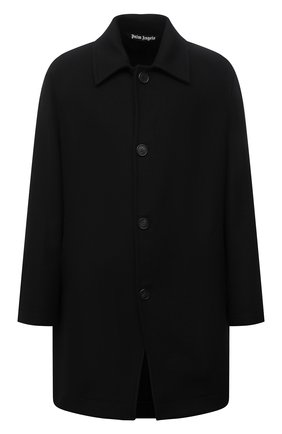 Мужской пальто PALM ANGELS черного цвета, арт. PMEA187F21FAB0011005 | Фото 1 (Длина (верхняя одежда): До середины бедра; Материал внешний: Шерсть; Рукава: Длинные; Мужское Кросс-КТ: пальто-верхняя одежда; Стили: Гранж)