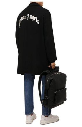 Мужской пальто PALM ANGELS черного цвета, арт. PMEA187F21FAB0011005 | Фото 2 (Длина (верхняя одежда): До середины бедра; Материал внешний: Шерсть; Рукава: Длинные; Мужское Кросс-КТ: пальто-верхняя одежда; Стили: Гранж)