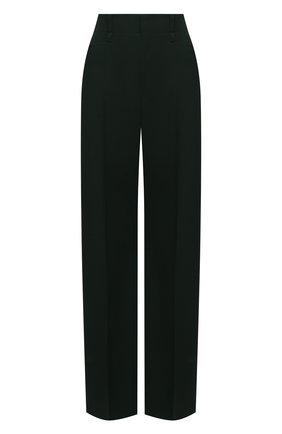 Женские шерстяные брюки CHLOÉ темно-зеленого цвета, арт. CHC21APA16066   Фото 1 (Материал внешний: Шерсть; Женское Кросс-КТ: Брюки-одежда; Случай: Формальный; Силуэт Ж (брюки и джинсы): Расклешенные; Стили: Классический; Длина (брюки, джинсы): Удлиненные)