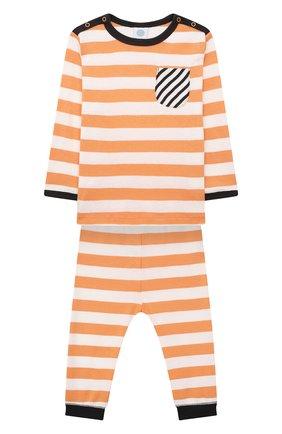 Детский хлопковая пижама SANETTA оранжевого цвета, арт. 221658 | Фото 1 (Рукава: Длинные; Материал внешний: Хлопок; Ростовка одежда: 9 мес | 74 см, 12 мес | 80 см, 18 мес | 86 см, 24 мес | 92 см, 36 мес | 98 см)