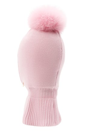 Детского шерстяная шапка-балаклава IL TRENINO розового цвета, арт. 21 4069 | Фото 2 (Материал: Шерсть)
