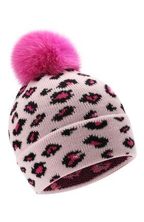 Детского шерстяная шапка с мехом IL TRENINO розового цвета, арт. 21 5800 | Фото 1 (Материал: Шерсть)