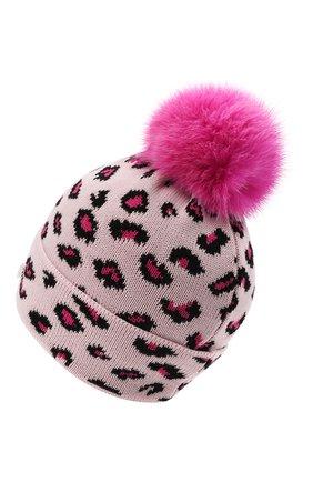 Детского шерстяная шапка с мехом IL TRENINO розового цвета, арт. 21 5800 | Фото 2 (Материал: Шерсть)