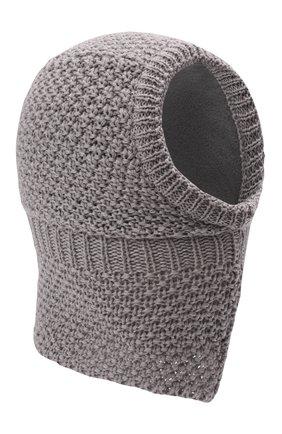 Детского шерстяная шапка-балаклава IL TRENINO серого цвета, арт. 19 5970/18 | Фото 1 (Материал: Шерсть)