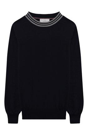 Детский шерстяной пуловер BRUNELLO CUCINELLI темно-синего цвета, арт. B24M80400B | Фото 1 (Материал внешний: Шерсть; Рукава: Длинные; Мальчики Кросс-КТ: Пуловер-одежда; Ростовка одежда: 10 - 11 лет | 140 - 146см, 8 лет | 128 см)