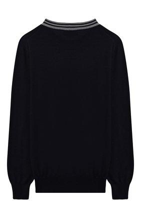 Детский шерстяной пуловер BRUNELLO CUCINELLI темно-синего цвета, арт. B24M80400B | Фото 2 (Материал внешний: Шерсть; Рукава: Длинные; Мальчики Кросс-КТ: Пуловер-одежда; Ростовка одежда: 10 - 11 лет | 140 - 146см, 8 лет | 128 см)
