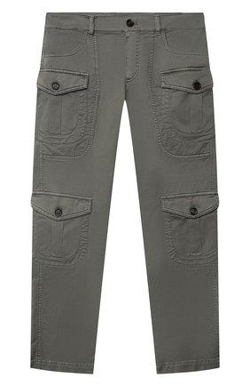 Детские хлопковые брюки BRUNELLO CUCINELLI хаки цвета, арт. B289LP112B | Фото 1 (Материал внешний: Хлопок; Мальчики Кросс-КТ: Брюки-одежда; Ростовка одежда: 10 - 11 лет | 140 - 146см)