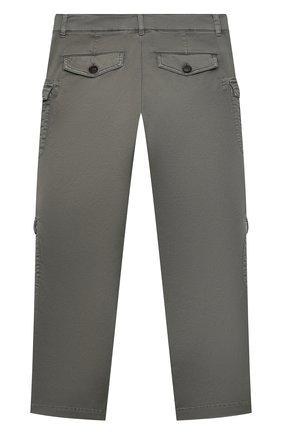 Детские хлопковые брюки BRUNELLO CUCINELLI хаки цвета, арт. B289LP112B | Фото 2 (Материал внешний: Хлопок; Мальчики Кросс-КТ: Брюки-одежда; Ростовка одежда: 10 - 11 лет | 140 - 146см)