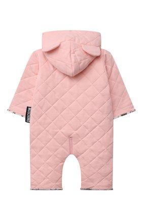 Детского хлопковый комбинезон MOSCHINO розового цвета, арт. MUT028/LDA29/9-12M | Фото 2 (Материал подклада: Хлопок; Материал внешний: Хлопок; Рукава: Длинные; Ростовка одежда: 0 - 3 мес | 50 - 60 см, 3 мес | 62 см, 6 мес | 68 см, 9 мес | 74 см)