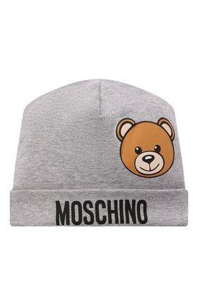Детского хлопковая шапка MOSCHINO серого цвета, арт. MUX03W/LDA14 | Фото 1 (Материал: Хлопок, Текстиль)