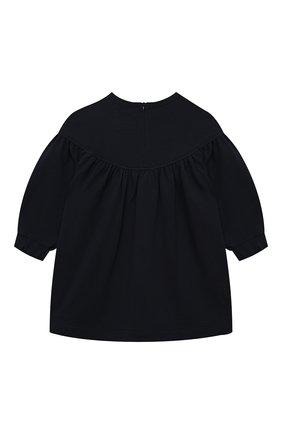 Детское хлопковое платье IL GUFO синего цвета, арт. A21VL440M0100/2A-4A   Фото 2 (Рукава: Длинные; Материал внешний: Хлопок; Случай: Повседневный; Ростовка одежда: 24 мес   92 см, 36 мес   98 см)