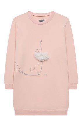 Детское хлопковое платье IL GUFO розового цвета, арт. A21VL479M0100/10A-12A   Фото 1 (Рукава: Длинные; Материал внешний: Хлопок; Случай: Повседневный; Ростовка одежда: 9 лет   134 см)
