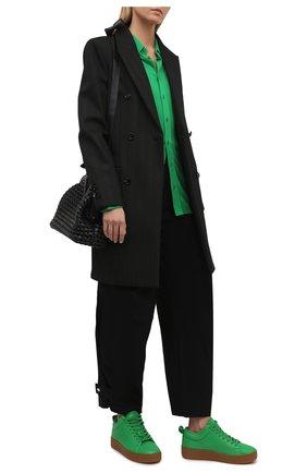 Женские кожаные кеды the quilt BOTTEGA VENETA зеленого цвета, арт. 651417/V00T0 | Фото 2 (Материал внутренний: Текстиль, Натуральная кожа; Подошва: Платформа)