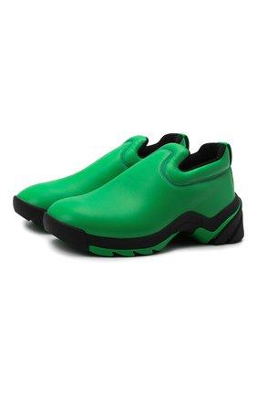 Мужские кожаные кроссовки flash BOTTEGA VENETA зеленого цвета, арт. 667069/VBSD0 | Фото 1 (Материал внутренний: Текстиль, Натуральная кожа; Стили: Гранж; Подошва: Массивная)