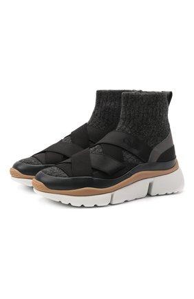 Женские текстильные кроссовки sonnie CHLOÉ темно-серого цвета, арт. CHC21A49033   Фото 1 (Материал внутренний: Натуральная кожа; Подошва: Платформа; Материал внешний: Текстиль; Кросс-КТ: хайтопы)