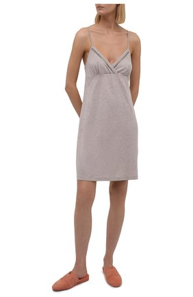 Женская сорочка SIMONEPERELE бежевого цвета, арт. 19S940   Фото 2 (Материал внешний: Лиоцелл, Хлопок; Длина Ж (юбки, платья, шорты): Мини)
