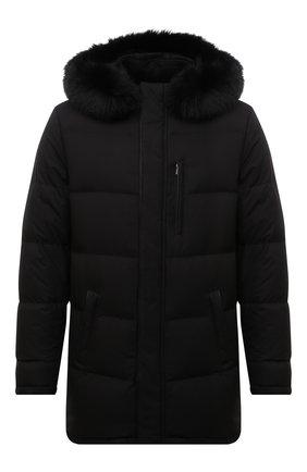 Мужская пуховик с меховой отделкой ANDREA CAMPAGNA черного цвета, арт. A3T742/3841 | Фото 1 (Материал утеплителя: Пух и перо, Шерсть; Длина (верхняя одежда): До середины бедра; Рукава: Длинные; Кросс-КТ: Куртка; Мужское Кросс-КТ: пуховик-короткий; Стили: Кэжуэл)