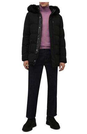 Мужская пуховик с меховой отделкой ANDREA CAMPAGNA черного цвета, арт. A3T742/3841 | Фото 2 (Материал утеплителя: Пух и перо, Шерсть; Длина (верхняя одежда): До середины бедра; Рукава: Длинные; Кросс-КТ: Куртка; Мужское Кросс-КТ: пуховик-короткий; Стили: Кэжуэл)