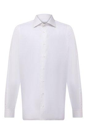 Мужская хлопковая сорочка BRIONI белого цвета, арт. RCL40W/P708I | Фото 1 (Материал внешний: Хлопок; Рукава: Длинные; Длина (для топов): Стандартные; Случай: Формальный; Принт: Однотонные; Стили: Классический; Рубашки М: Classic Fit; Манжеты: На пуговицах; Воротник: Акула; Big sizes: Big Sizes)