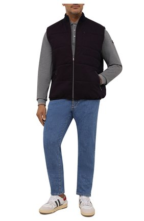 Мужской утепленный жилет CAPOBIANCO бордового цвета, арт. 11M138.WYI0./58-60   Фото 2 (Материал внешний: Хлопок; Материал подклада: Синтетический материал; Кросс-КТ: Куртка; Стили: Кэжуэл; Длина (верхняя одежда): Короткие)