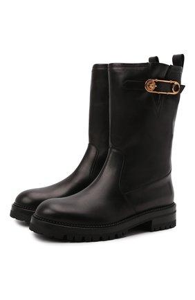 Женские кожаные сапоги VERSACE черного цвета, арт. 1000841/1A00633 | Фото 1 (Каблук высота: Низкий; Подошва: Платформа; Материал внутренний: Натуральная кожа; Каблук тип: Устойчивый; Высота голенища: Средние)