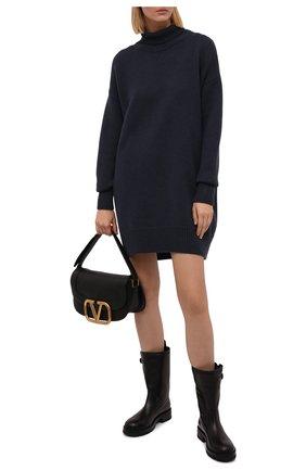 Женские кожаные сапоги VERSACE черного цвета, арт. 1000841/1A00633 | Фото 2 (Каблук высота: Низкий; Подошва: Платформа; Материал внутренний: Натуральная кожа; Каблук тип: Устойчивый; Высота голенища: Средние)