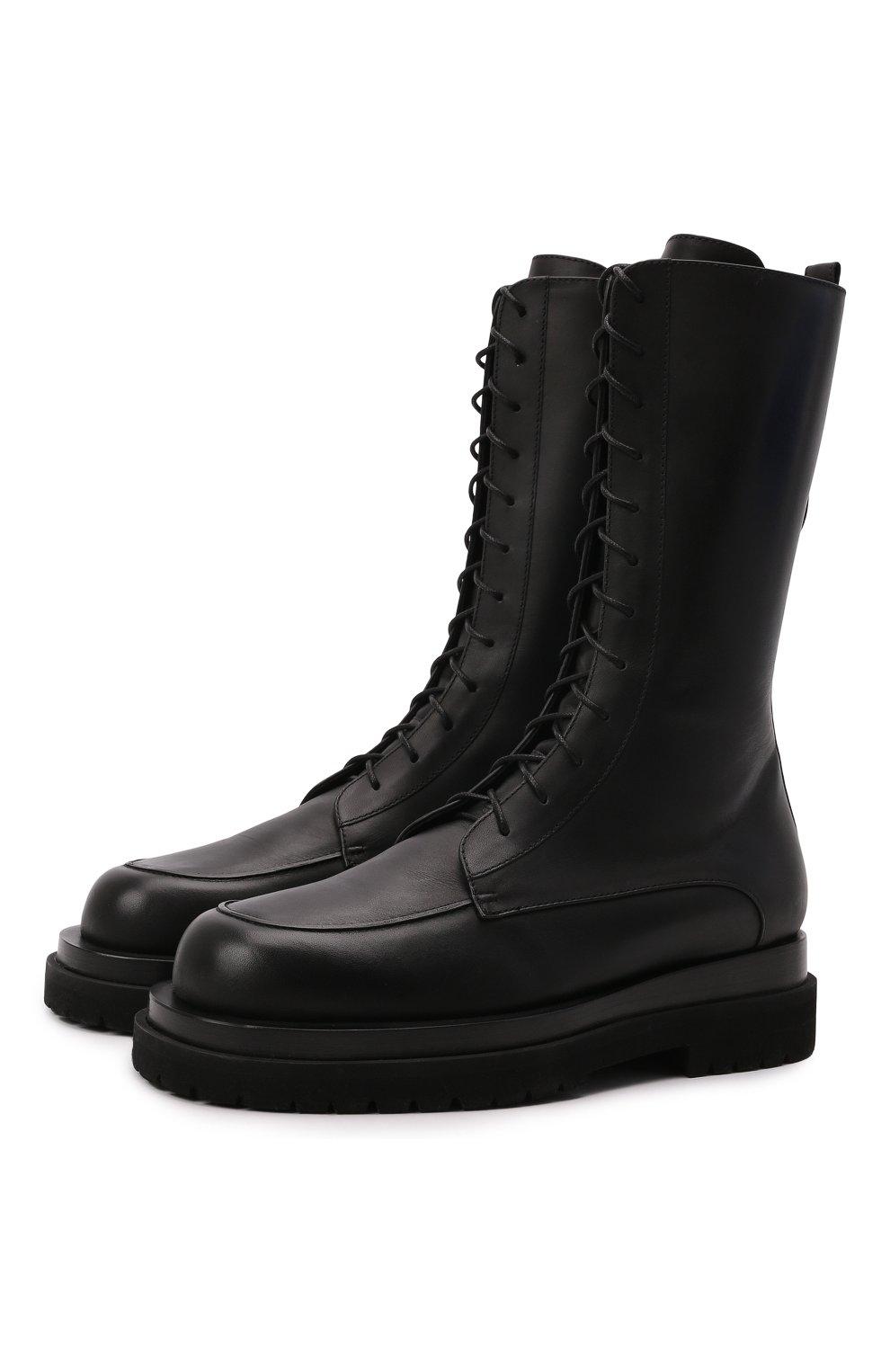 Женские кожаные ботинки MAGDA BUTRYM черного цвета, арт. 5187208008 | Фото 1 (Подошва: Платформа; Каблук высота: Низкий; Женское Кросс-КТ: Военные ботинки; Материал внутренний: Натуральная кожа)
