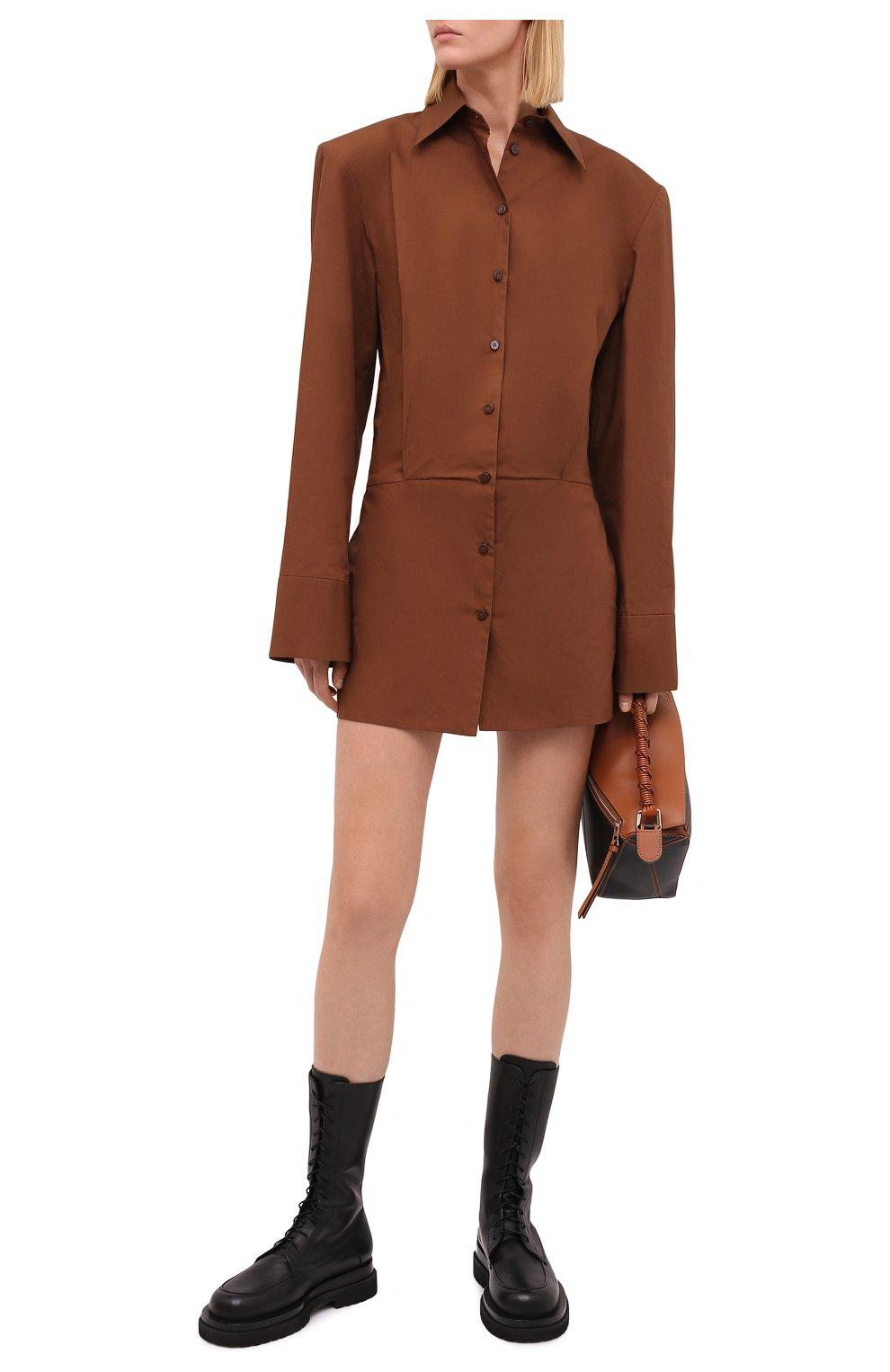 Женские кожаные ботинки MAGDA BUTRYM черного цвета, арт. 5187208008 | Фото 2 (Подошва: Платформа; Каблук высота: Низкий; Женское Кросс-КТ: Военные ботинки; Материал внутренний: Натуральная кожа)