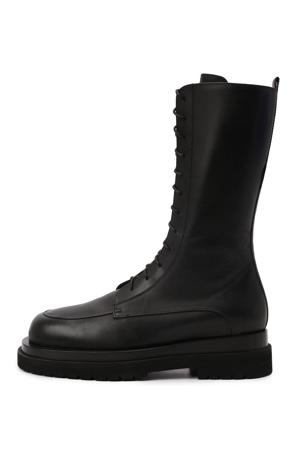 Женские кожаные ботинки MAGDA BUTRYM черного цвета, арт. 5187208008 | Фото 3 (Подошва: Платформа; Каблук высота: Низкий; Женское Кросс-КТ: Военные ботинки; Материал внутренний: Натуральная кожа)